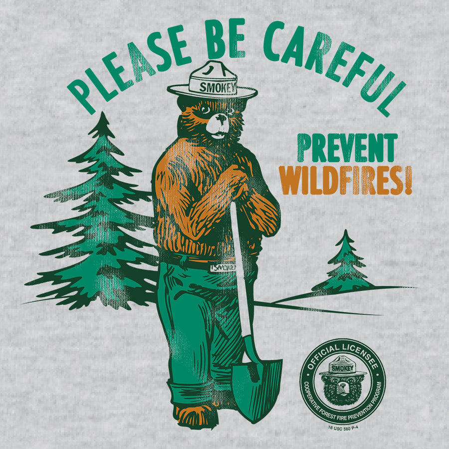 Smokey Bear Please Be Careful Prevent Wildfires Ringer T-Shirt - Gray and Black
