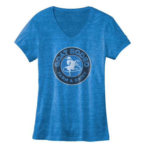 Goat Rodeo Women's V-Neck Cobalt Tee