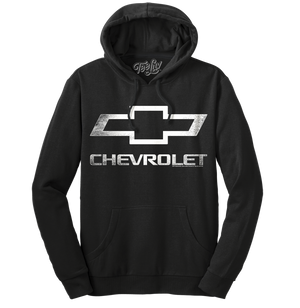 Chevrolet Logo Pullover Hooded Fleece Sweatshirt - Black