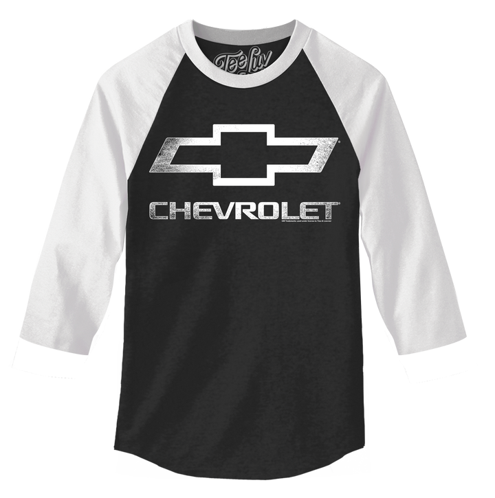 Chevrolet Logo 3/4 Sleeve Raglan Jersey T-Shirt- Black and White