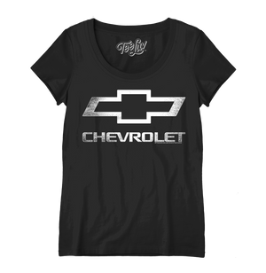 Women's Chevrolet Logo Scoopneck T-Shirt - Black