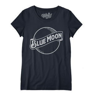 Blue Moon Logo Women's Scoopneck T-Shirt - Navy