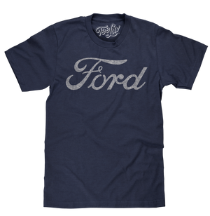 Licensed automotive shirt featuring the distressed Ford signature logo printed on a poly-cotton navy blue heather men's tee.