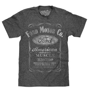 Vintage logo shirt featuring the 'Ford Motor Co' and 'American Made Muscle' text printed on a poly-cotton onyx-black heather tee.