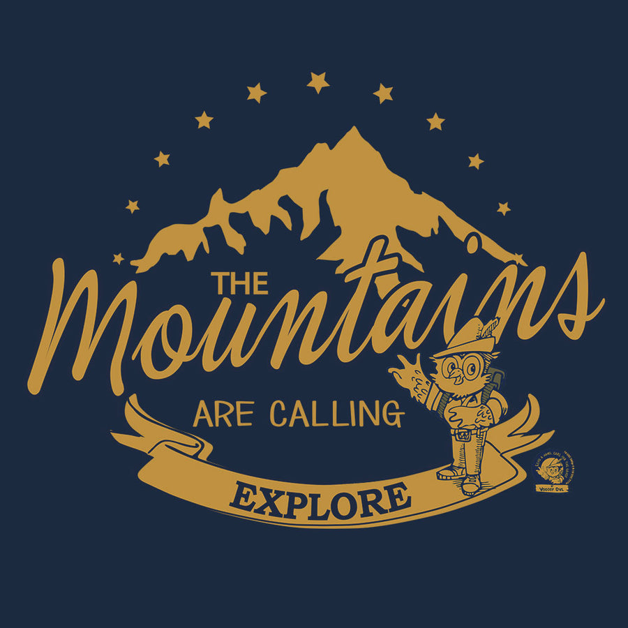 Woodsy Owl The Mountains are Calling Women's Scoopneck T-Shirt - Navy