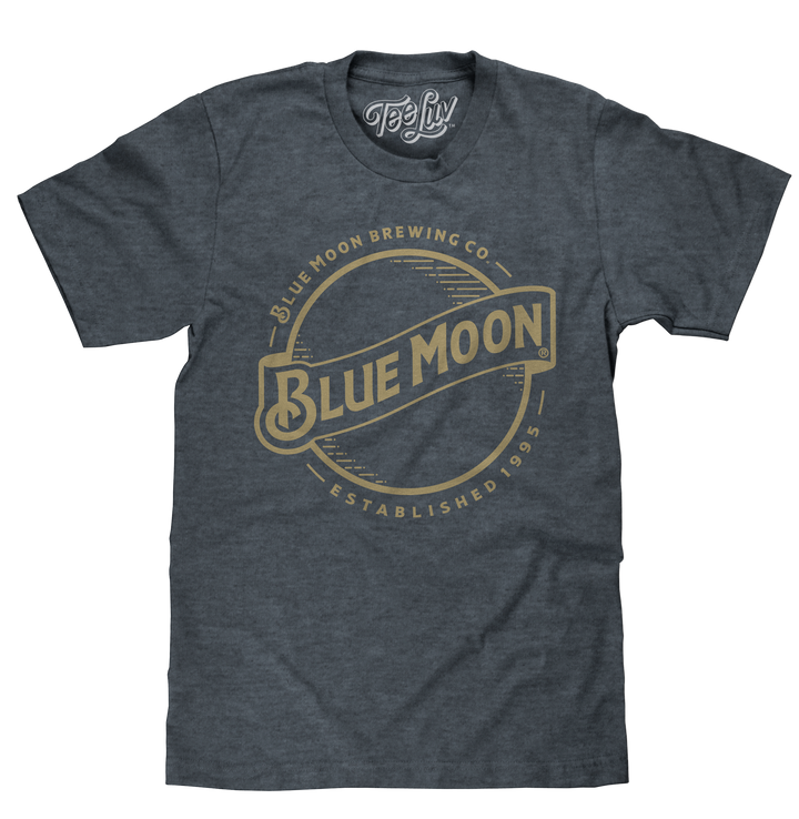 Blue Moon Gold Print Logo T-Shirt - Heather Blue