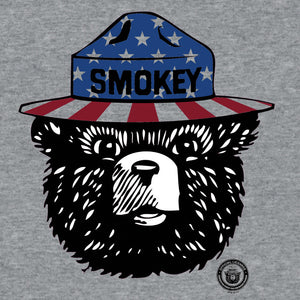Patriotic Smokey Bear T-Shirt - Gray