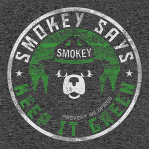 "Smokey Says ""Keep it Green, Prevent Wildfires"" T-Shirt - Gray"