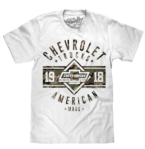 White cotton men's tee shirt featuring a camouflage print of the Chevy Bowtie logo and 'Chevrolet Trucks' and 'American Made' text.