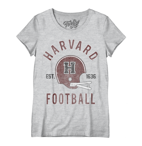 Harvard Football Distressed Women's Crew Tee