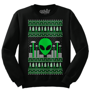 Alien Christmas Invasion Crewneck Sweatshirt - Black