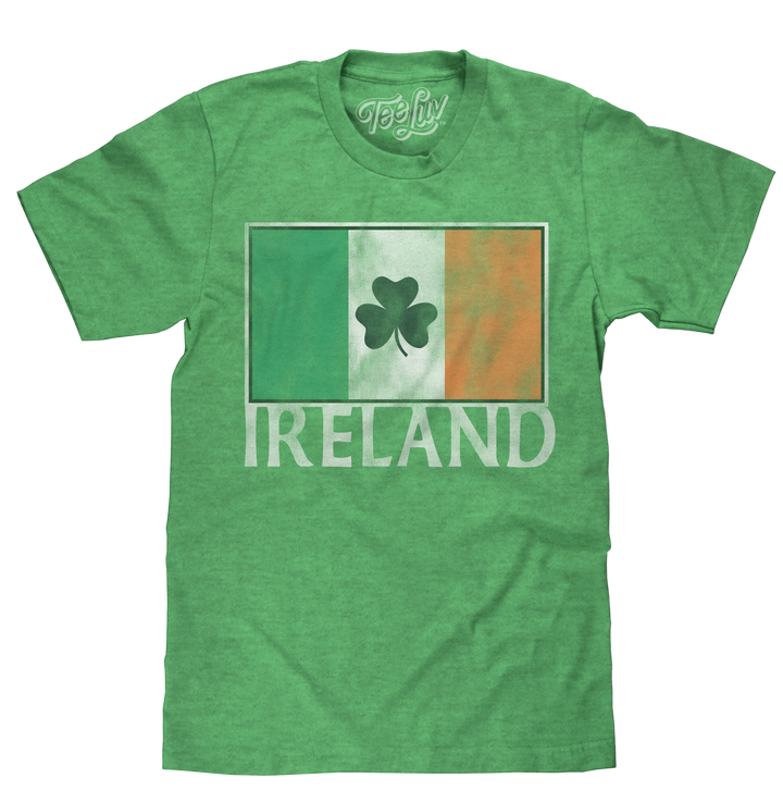 Ireland Flag with Shamrock T-Shirt - Green