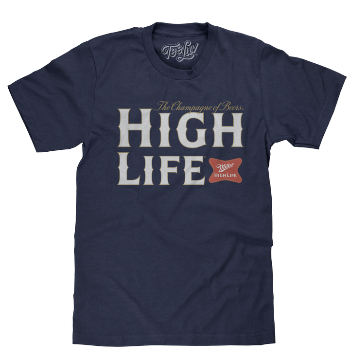 Miller High Life Champagne of Beers T-Shirt - Heather Navy Blue