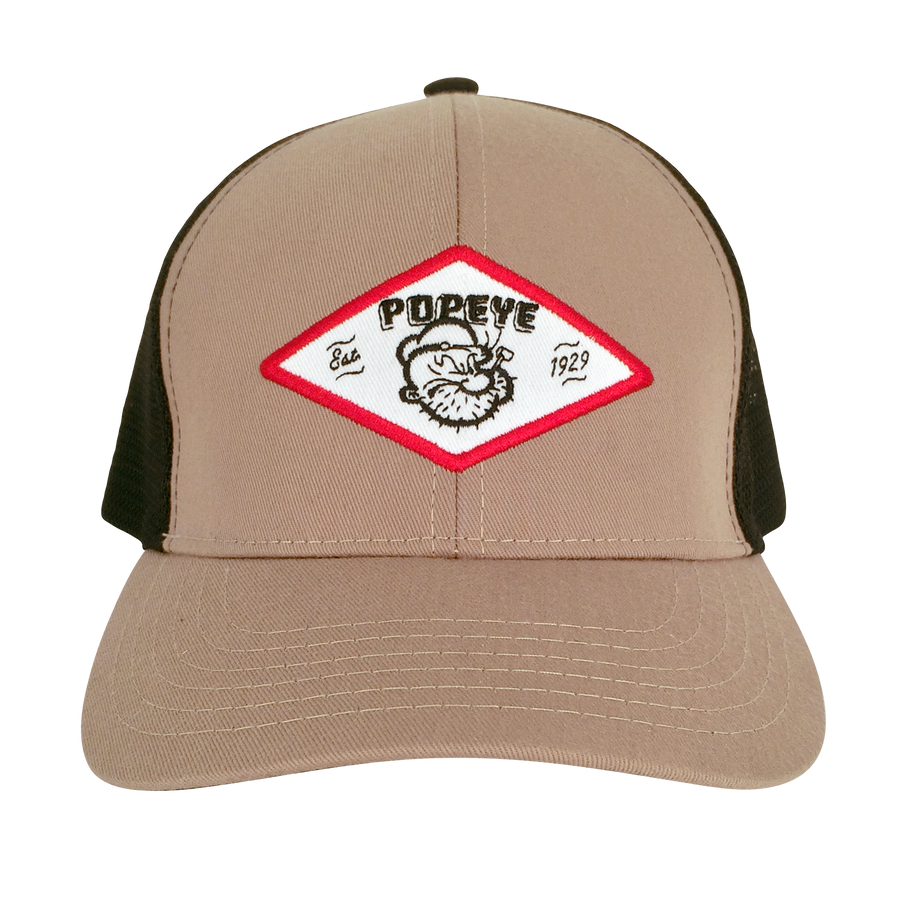 Popeye The Sailor Trucker Hat - Tan and Black