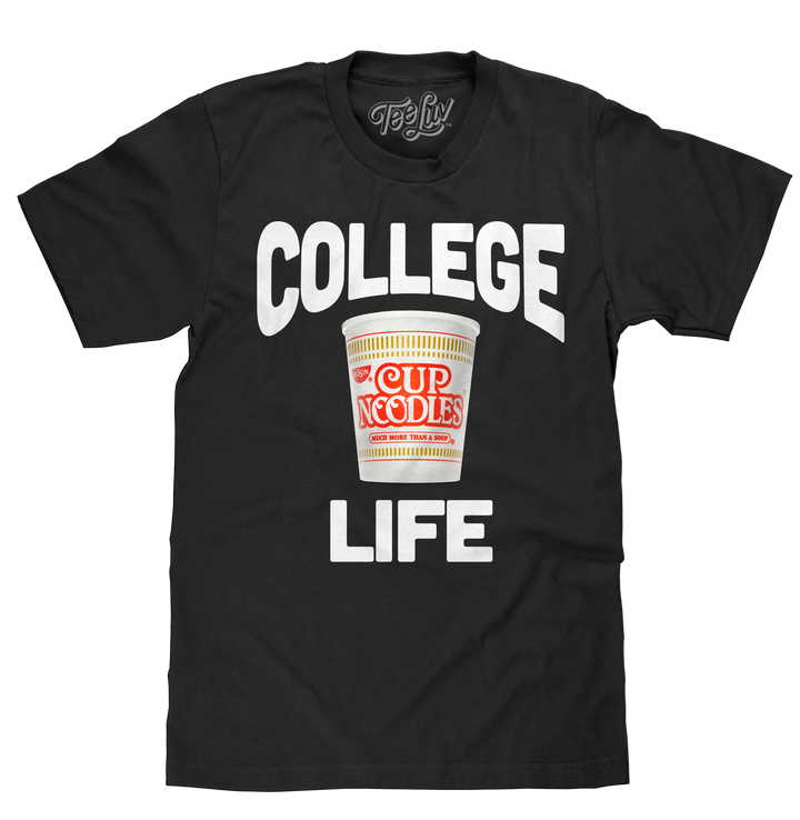 College Life Cup Noodles T-Shirt - Black