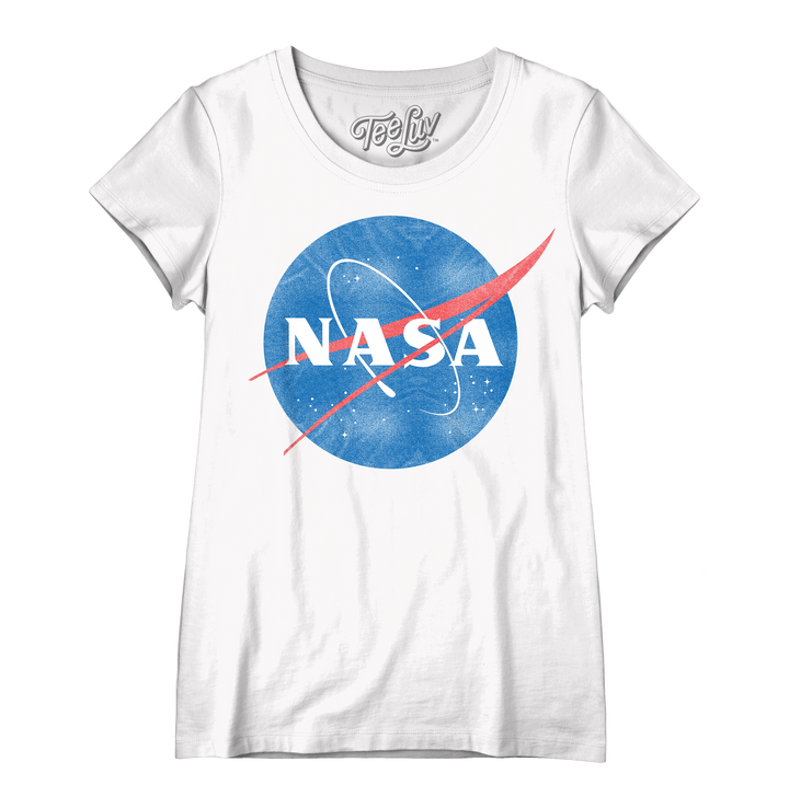 Women's Vintage NASA Logo Scoopneck T-Shirt - White