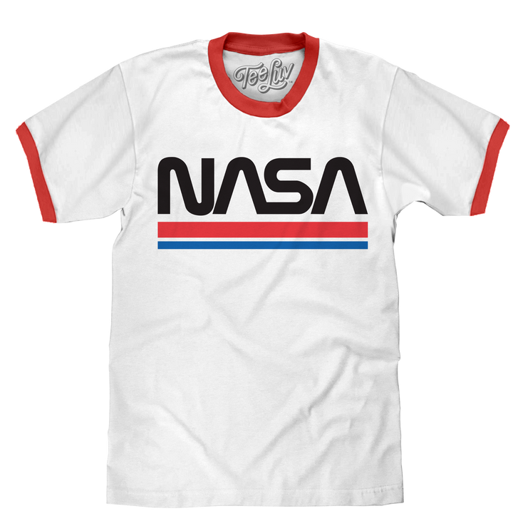 NASA Worm Logo Ringer T-Shirt - White and Red