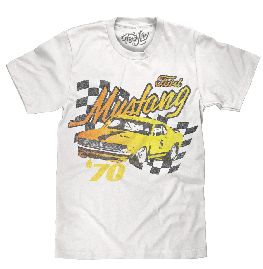 Vintage car logo shirt with a yellow 1970 Ford Mustang Boss 302 against a checkered black background distressed and printed on a soft white cotton tee.