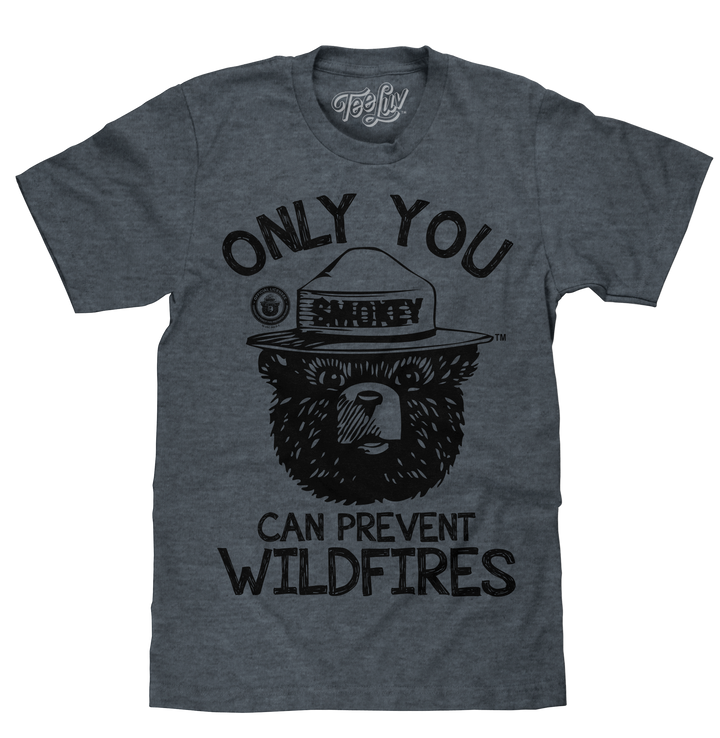 Smokey Bear Only You Can Prevent Wildfires T-Shirt - Indigo