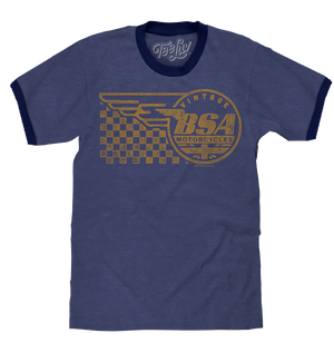 Vintage BSA Motorcycles Ringer T-Shirt - Blue and Black