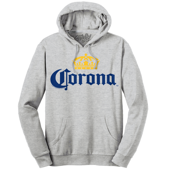 Corona Logo Pullover Hooded Sweatshirt - Gray