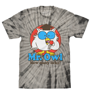 Tootsie Pop Mr. Owl How Many Licks Tie Dye T-Shirt - Black Tie Dye