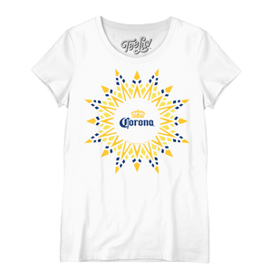 Corona Beer Sun Logo Women's Scoopneck T-Shirt - White