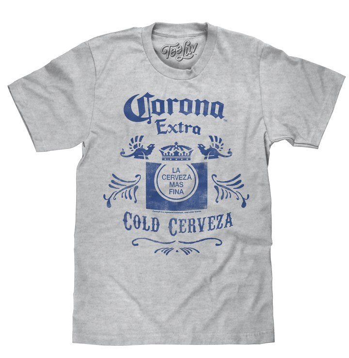 Corona Extra Cold Cerveza Crown Logo T-Shirt - Athletic Gray Heather