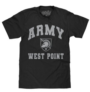 Officially licensed men's United States Military Academy black cotton tee shirt with a graphic of the Athena Shield logo and Army West Point text.