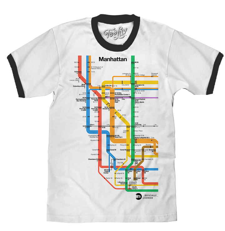 Men's white and black ringer tee shirt with an officially licensed, colorful MTA subway train map of Manhattan New York.