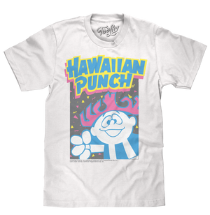 90s inspired neon graphic tee shirt featuring a distressed print of the Hawaiian Punch mascot Punchy.