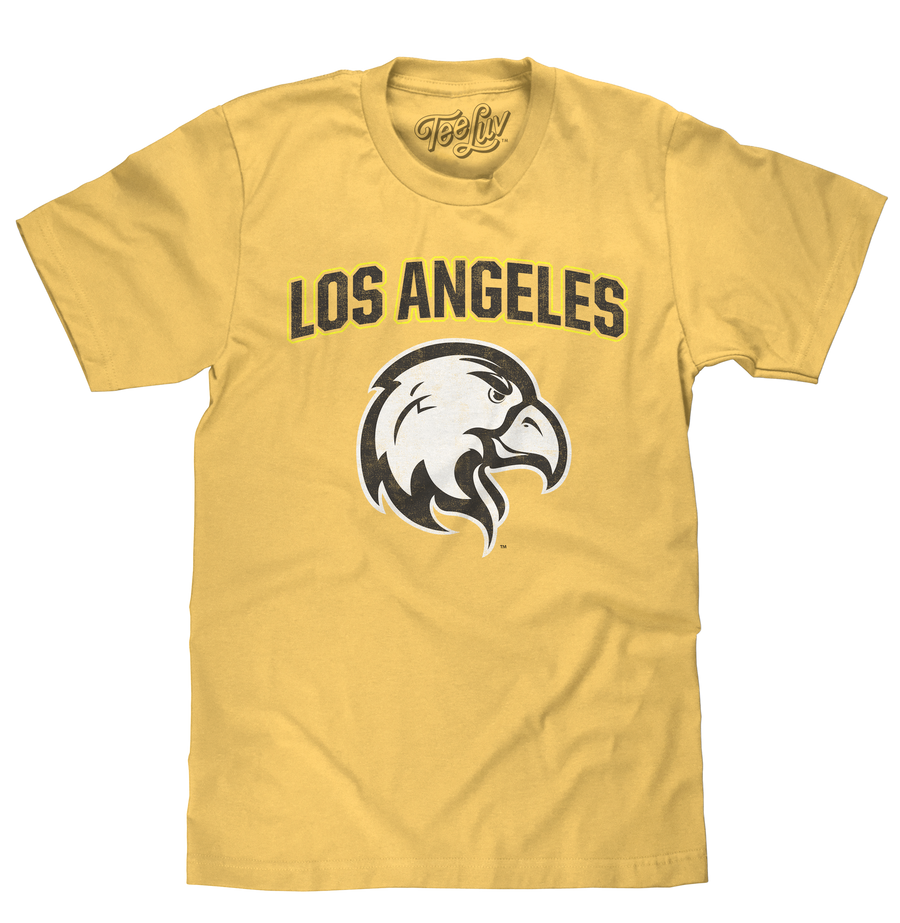 California State University Los Angeles Golden Eagles college athletic team logo printed on a soft, yellow heather t-shirt.
