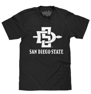 San Diego State University SDSU Logo printed on a black cotton men's t-shirt.