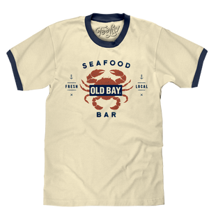Old  Bay Seafood Bar Lobster Logo Ringer T-Shirt - Beige and Navy