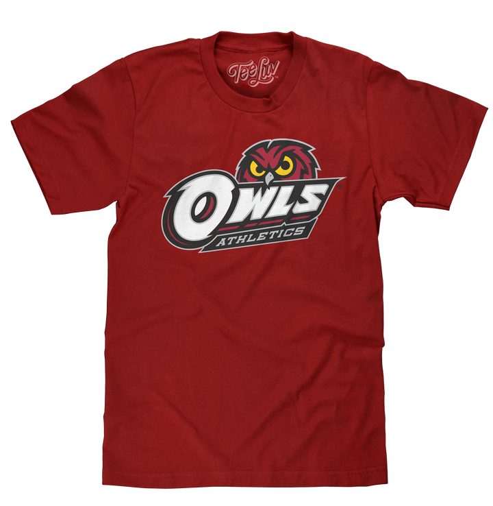 Temple University Owls Athletics T-Shirt- Crimson Red
