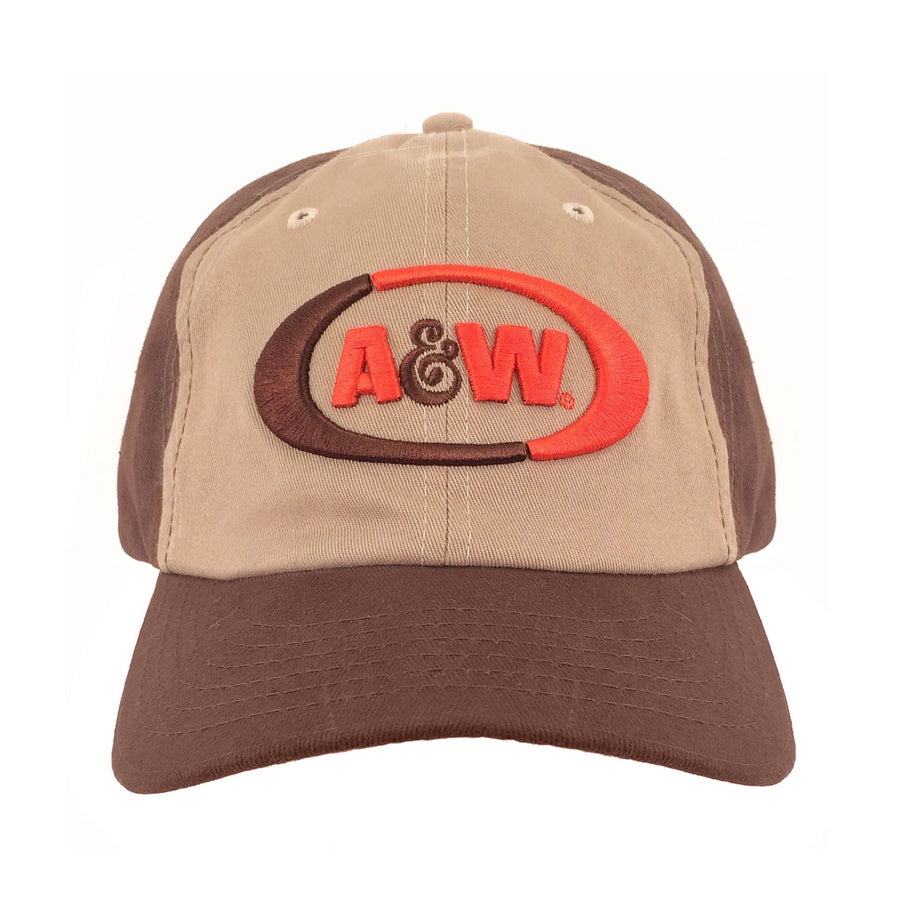 A&W Root Beer Logo Baseball Hat - Brown and Tan