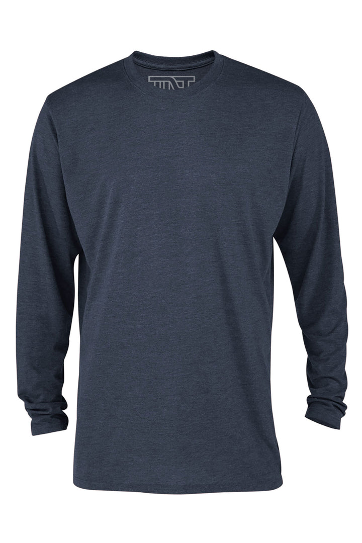Navy Heather Long Sleeve Tri-Blend T-Shirt - Navy