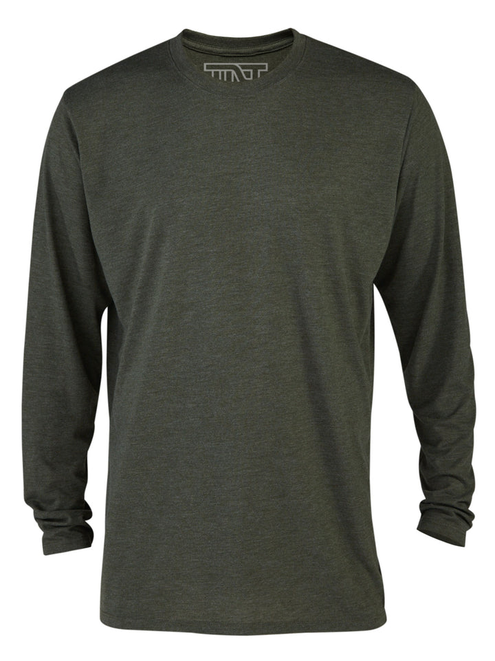 Moss Heather Long Sleeve Tri-Blend T-Shirt - Green