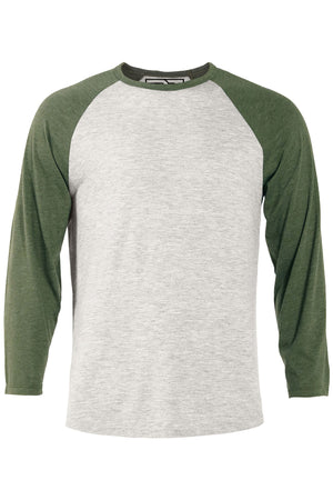 Heather Raglan T-Shirt - Oatmeal & Moss