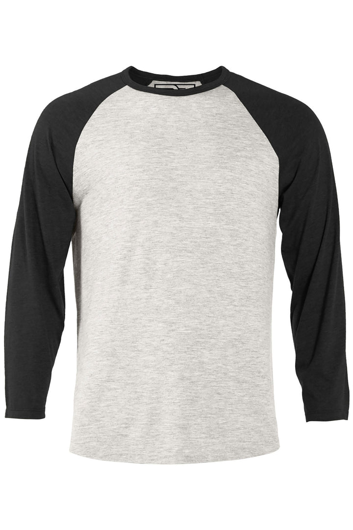 Heather Raglan T-Shirt - Oatmeal and Black