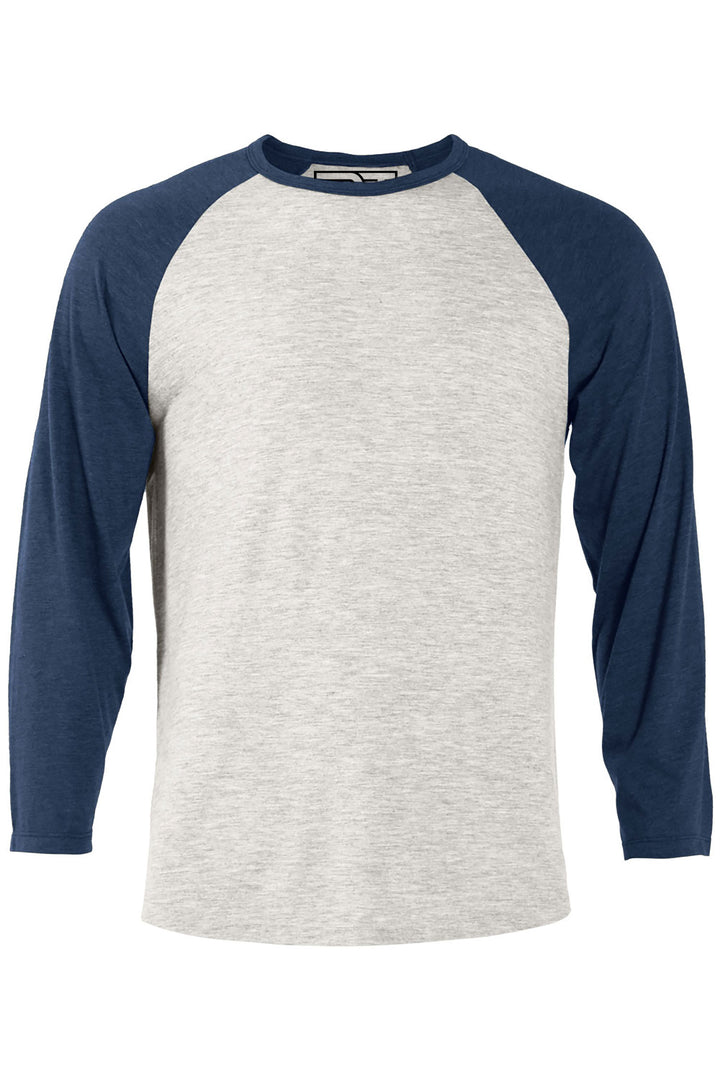 Heather Raglan T-Shirt - Oatmeal & Navy