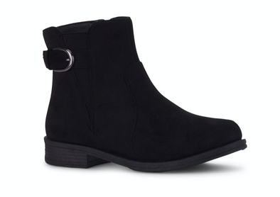 Tivoli Faux Suede Black Buckle Ankle Boot