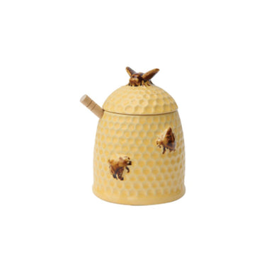 Bee Skep Honey Jar With Wood Dipper
