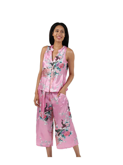 Satin Floral Lounge Set Pink