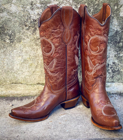 Corral Boots - Brown Bird & Floral Embroidery