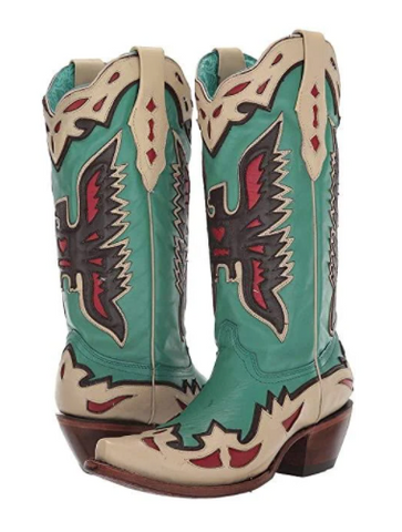 Corral Boots - Turquoise Eagle Overlay & Embroidery