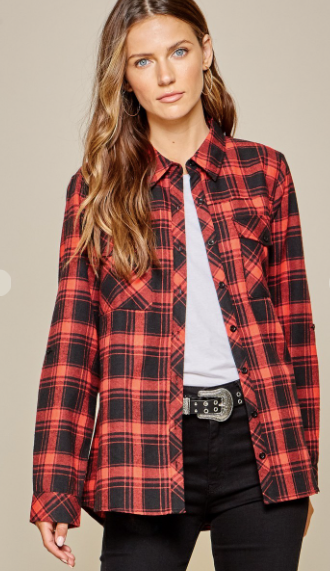 Red Plaid Embroidered Back Top