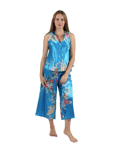 Satin Floral Lounge Set Turquoise