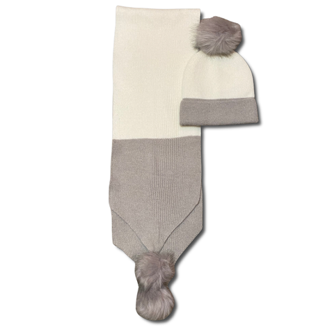 Grey and White Scarf and Hat Set