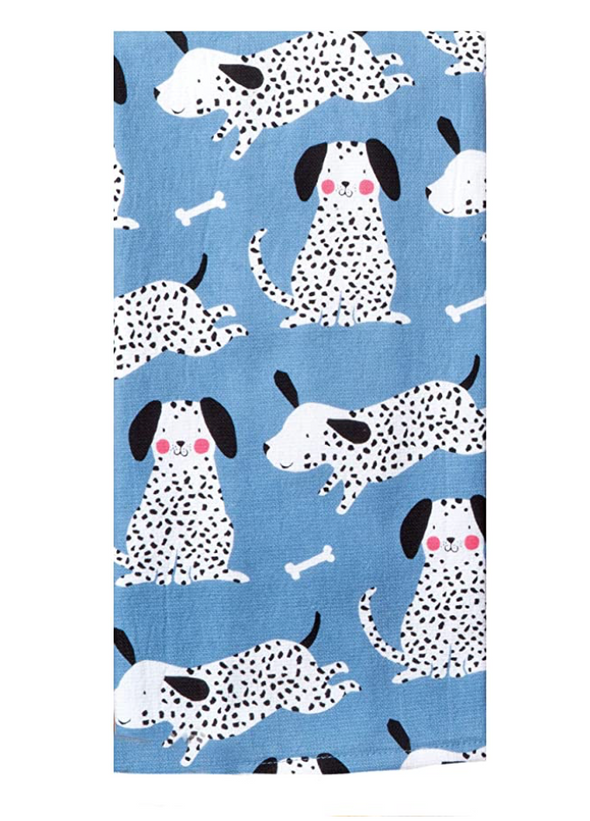 Spotty Dog Blue Tea Towel